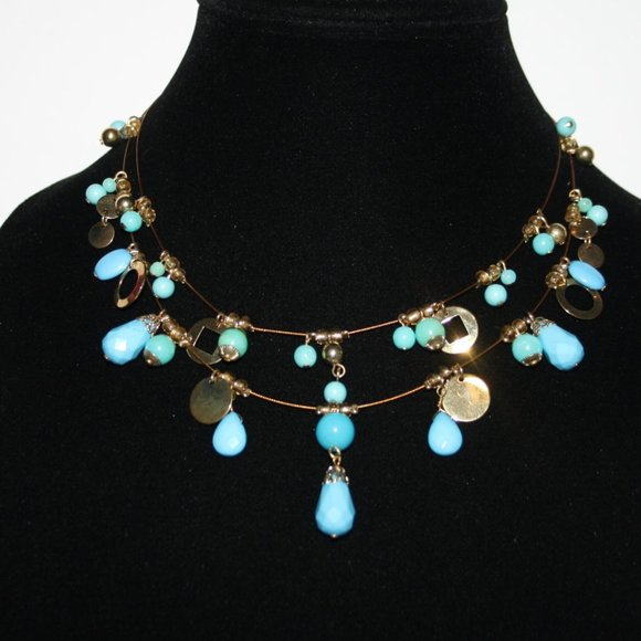 """Beautiful gold and turquoise wire necklace 16"""""""
